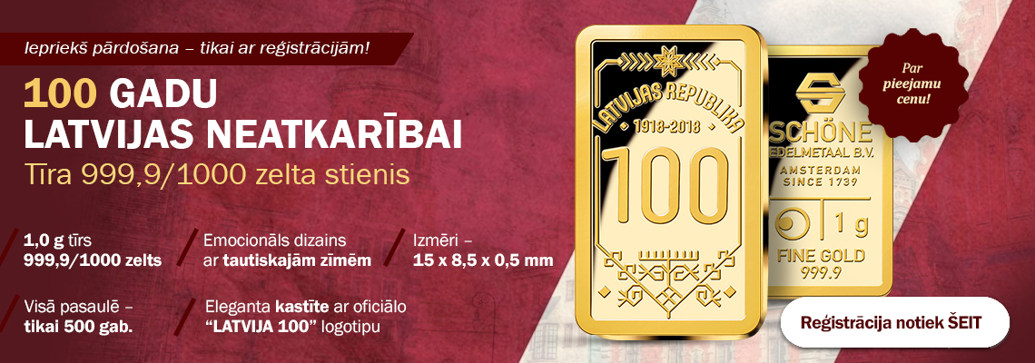 Latvijas neatkarības 100. gadadienai veltīts zelta izstrādājums
