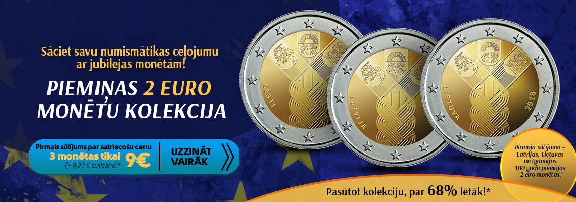 """Monētu kolekcija """"Jubilejas 2 eiro monētas"""""""