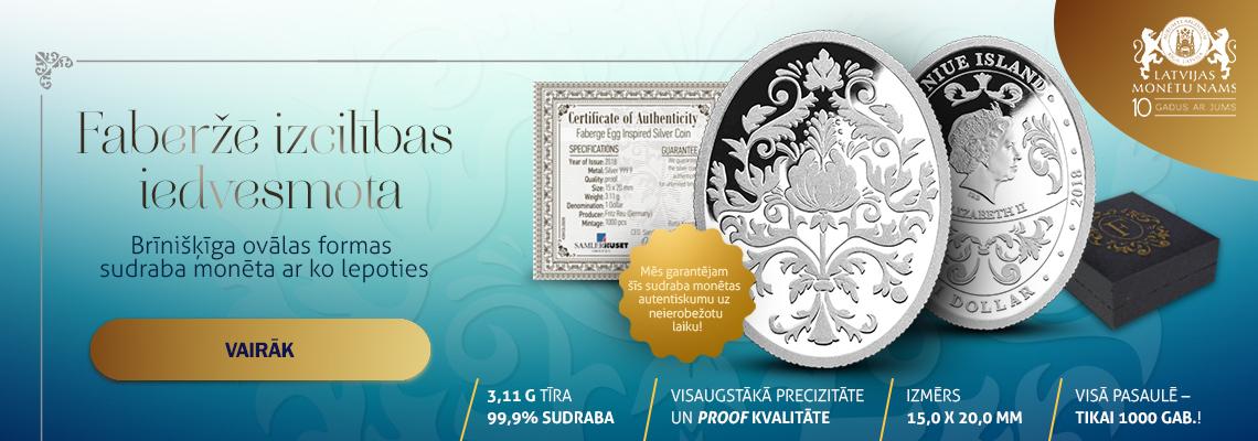 Faberžē olu iedvesmota sudraba monēta