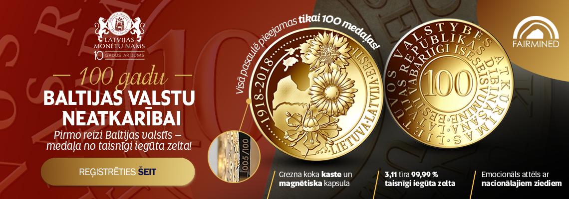 Baltijas valstu neatkarības simtgadei veltīta zelta medaļa