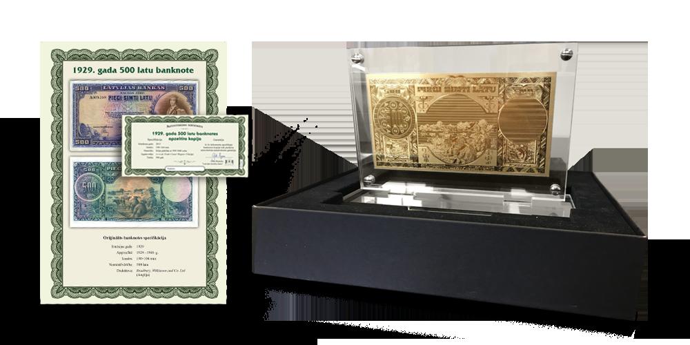 1929. gada 500 latu banknotes apzeltīta kopija