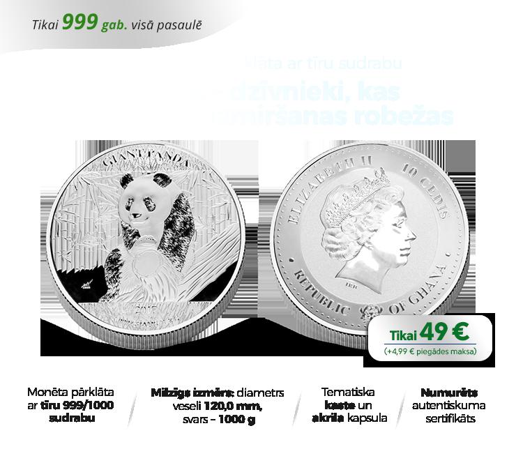 "Apsudrabota 1 kg monēta ""Panda"""