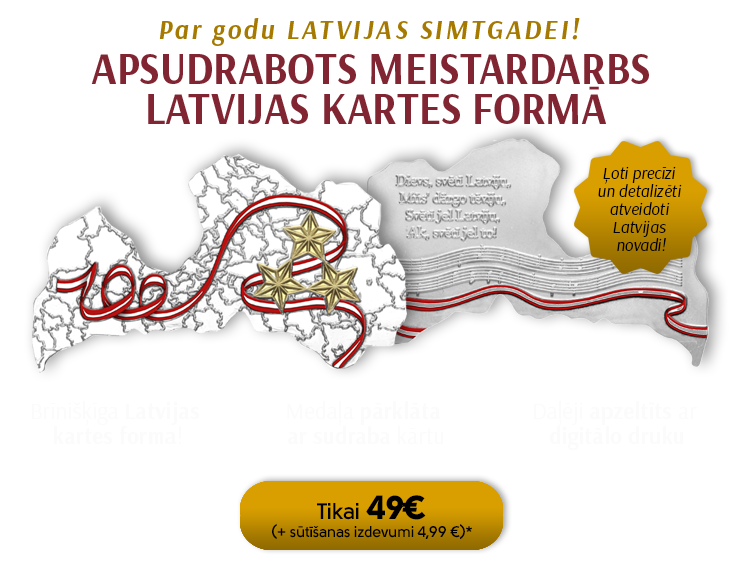 Apsudrabota un daļēji apzeltīta medaļa Latvijas kartes formā