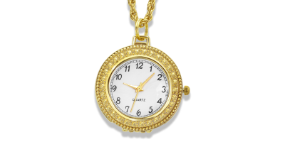 Apzeltīta kaklarota – pulkstenis ar palielināmo stiklu