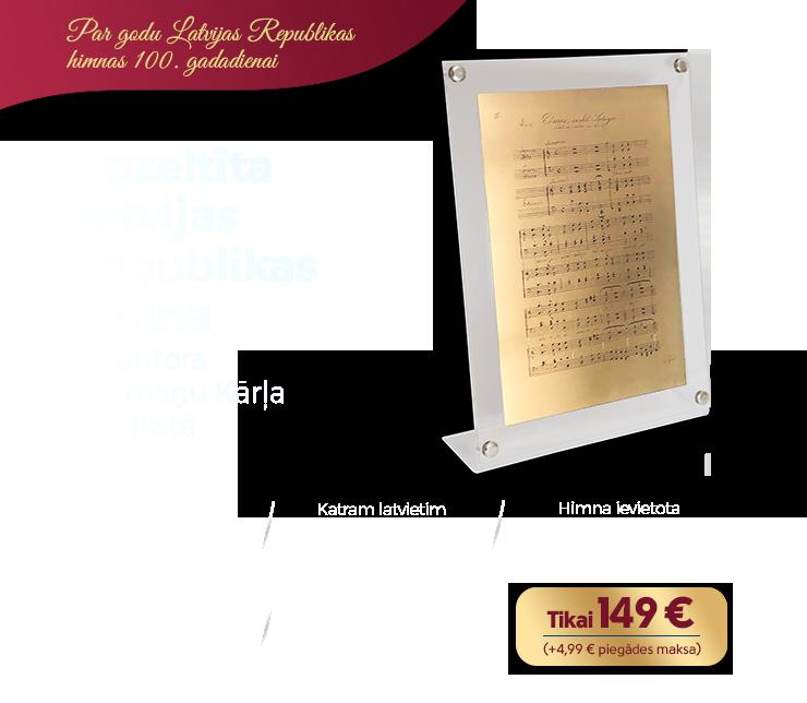 Apzeltīta Latvijas Republikas himna tās autora Baumaņu Kārļa rokrakstā