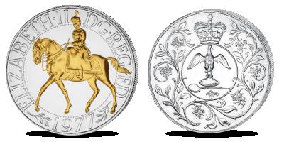 "Apzeltīta monēta ""Karaliene Elizabete II uz zirga"""