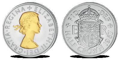 "Apzeltīta monēta ""Karalienes Elizabetes II pus kronis"""