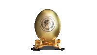 Apzeltītas Lieldienu olas formas monēta