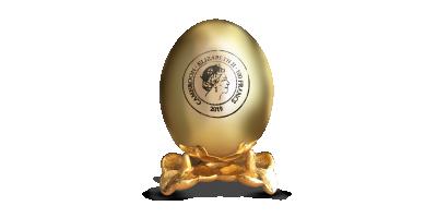 Apzeltītas olas formas monēta