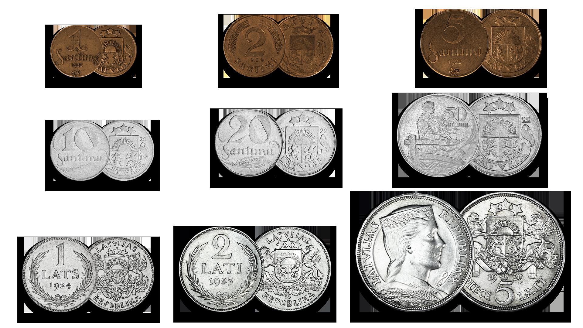 Autentisku latviešu monētu komplekts