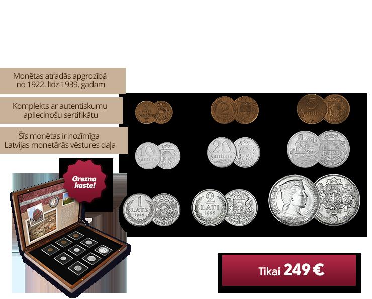 Autentisku Latvijas monētu komplekts
