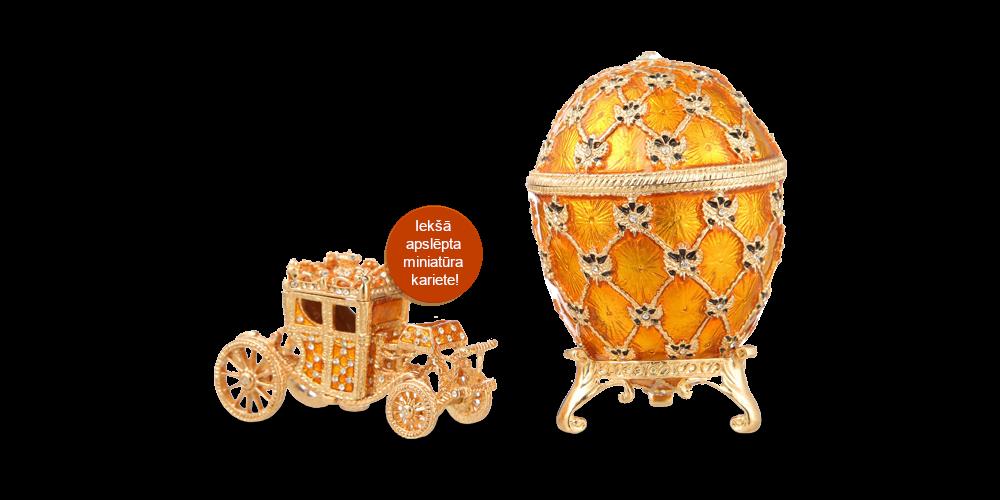 """Apzeltīta dārglietu lādīte, Faberžē olas """"Karaliskā Kronēšana"""" iedvesmota (dzeltens)"""