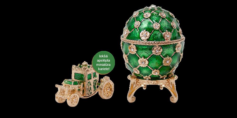 """Apzeltīta dārglietu lādīte, Faberžē olas """"Karaliskā Kronēšana"""" iedvesmota (zaļš)"""
