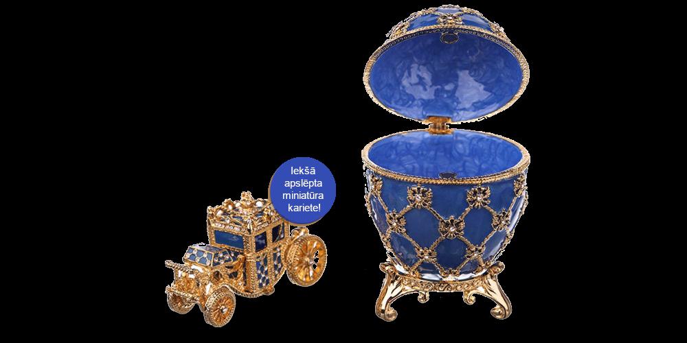 """Apzeltīta dārglietu lādīte, Faberžē olas """"Karaliskā Kronēšana"""" iedvesmota (zils)"""