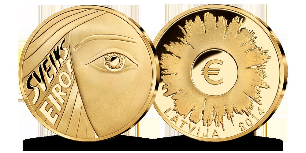 Apzeltītā medaļa, kas veltīta eiro ieviešanai Latvijā