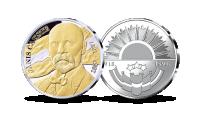 Apzeltīta un ar sudrabu pārklāta medaļa, veltīta pirmajam Latvijas prezidentam Jānim Čakstem