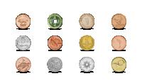 2021. gada kalendārs ar 12 monētām no dažādām pasaules valstīm