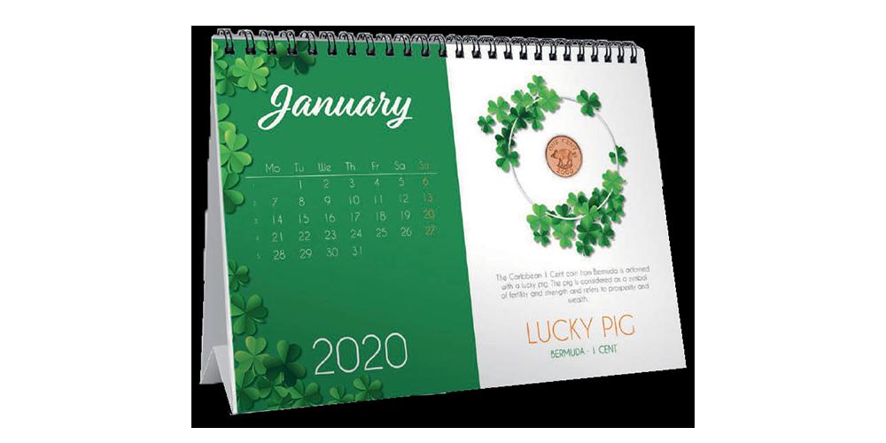 """Galda kalendārs """"Veiksmes monētas"""""""