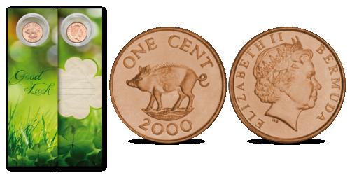 Grāmatzīme ar veiksmes monētu