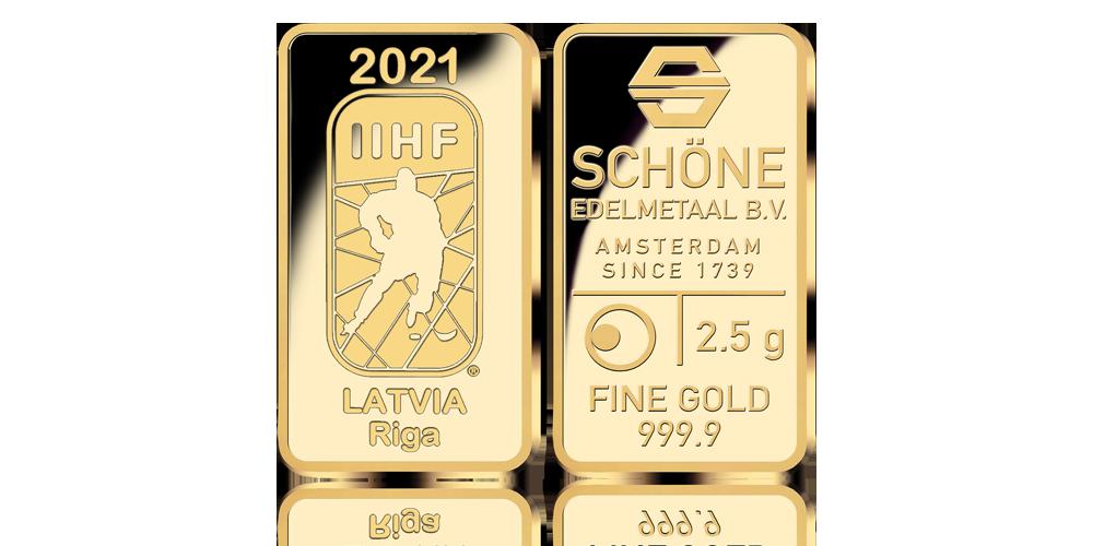 IIHF Pasaules Čempionātam Hokejā 2021 veltīts zelta stienis (2,5g)