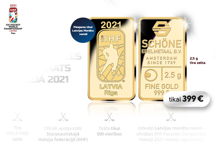 IIHF Pasaules Čempionātam Hokejā 2021 veltīts zelta stienis
