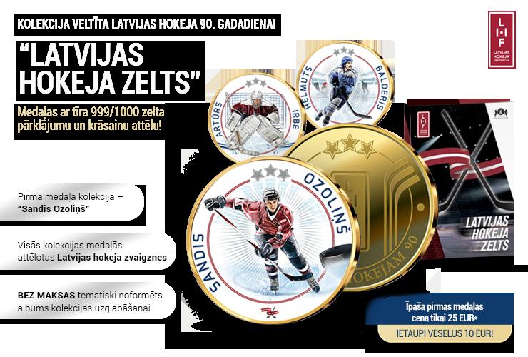 """Kolekcija """"Latvijas hokeja zelts"""", pirmā medaļa - """"Sandis Ozoliņš"""""""