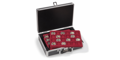 Kolekcionāra koferis: melna kaste/sarkani ieliktņi