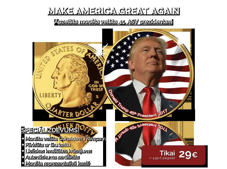 Apzeltīta krāsaina monēta veltīta Donaldam Trampam