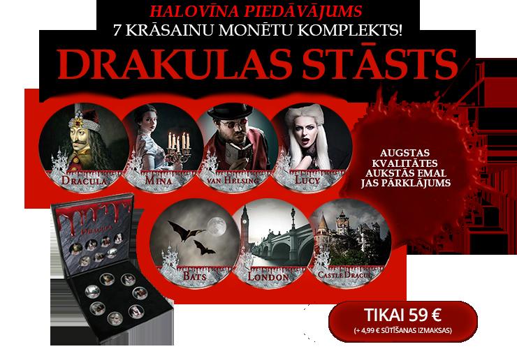 7 krāsainu monētu komplekts, kas veltīts slavenajam stāstam par Drakulu