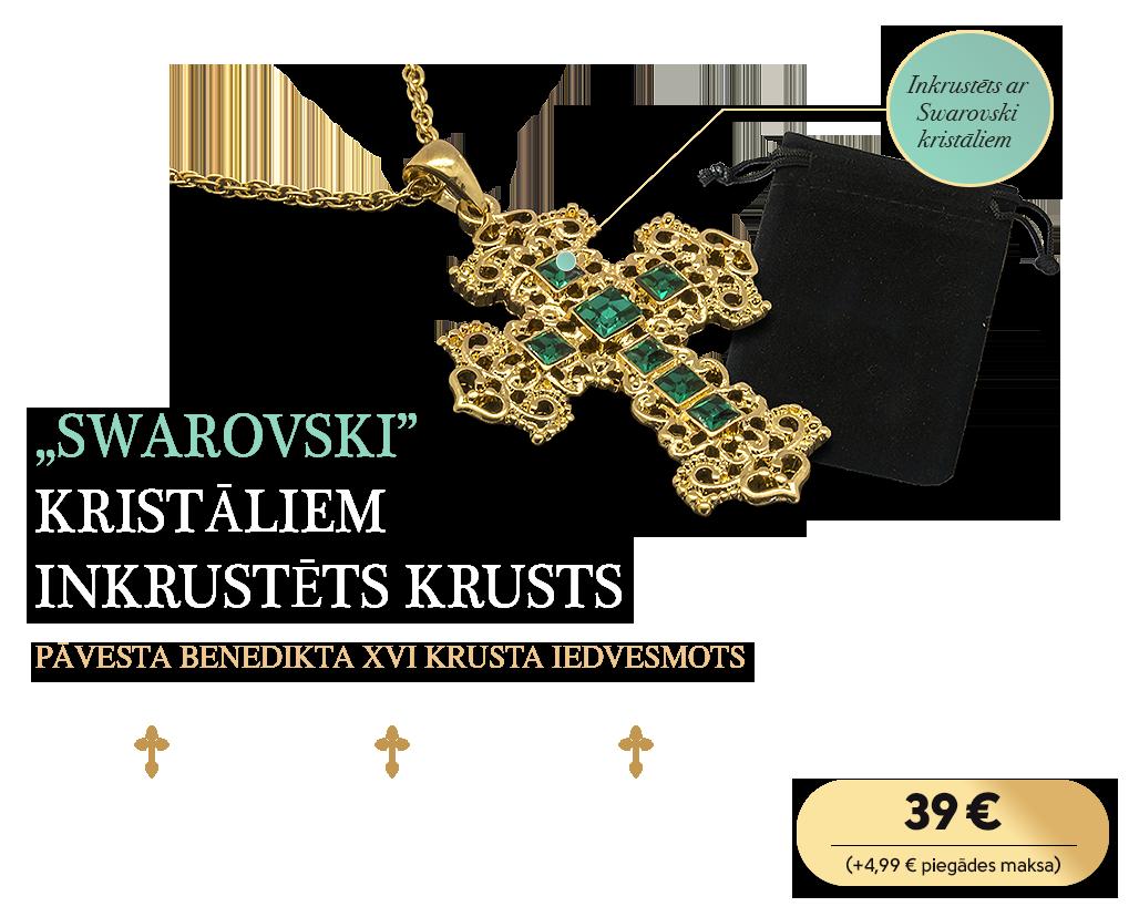 """""""Swarovski"""" kristāliem inkrustēts krusts"""