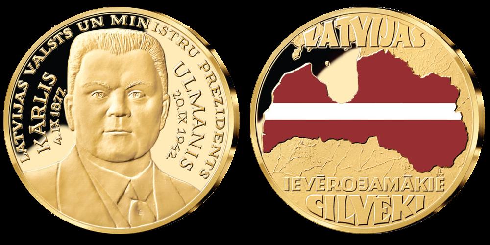"""Kolekcija """"Latvijas ievērojamākie cilvēki"""", pirmā medaļa - """"K.Ulmanis"""""""