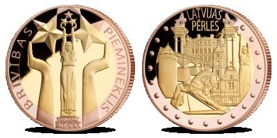 """Kolekcija """"Latvijas pērles"""", pirmā medaļa - """"Brīvības Piemineklis"""""""