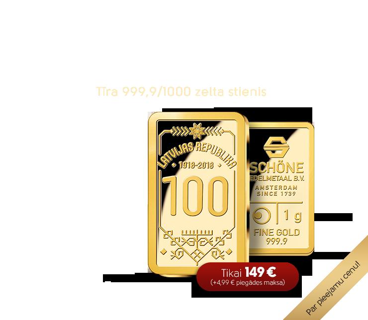 Latvijas simtgadei veltīts zelta stienis