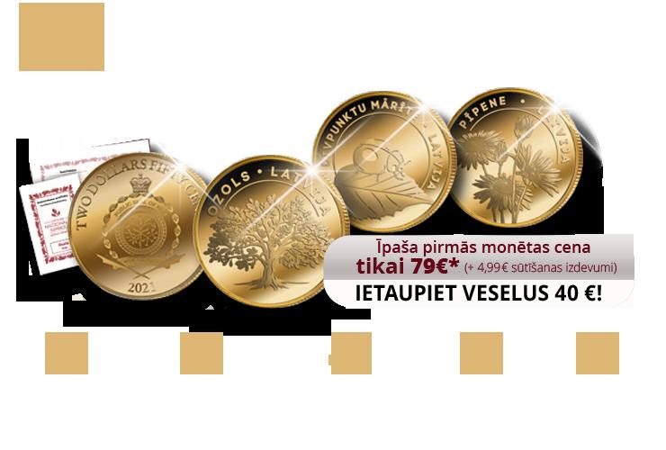 """Zelta monētu kolekcija """"Latvijas nacionālie simboli"""""""