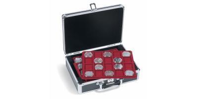 Mazā monētu kaste: melna kaste/sarkani ieliktņi