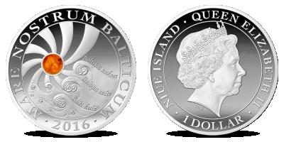 Īsts retums – monēta ar dabīgu dzintaru!