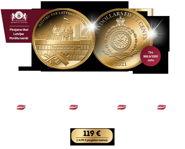 """Tīra zelta monēta """"Janvāra barikāžu 30. gadadiena"""""""