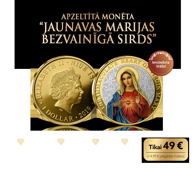 Daļēji apzeltīta monēta ar Jaunavu Mariju