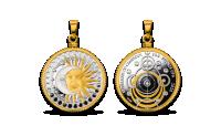 """Tīra sudraba monēta - kulons """"Saule un Mēness"""""""