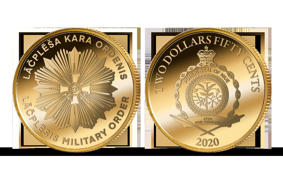 """Tīra zelta monēta """"Lāčplēša Kara ordenis"""""""