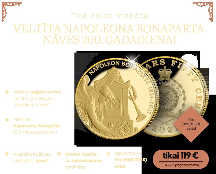 Monēta, veltīta Napoleona Bonaparta nāves 200. gadadienai