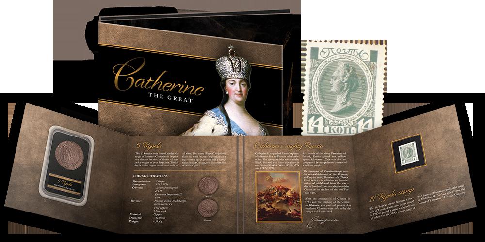 """Monētu un pastmarku komplekts """"Katrīna II"""""""