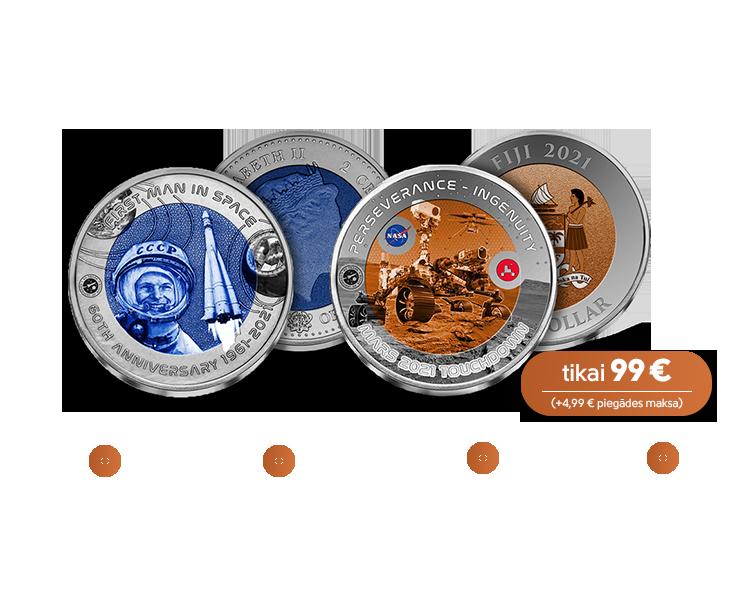 """Titāna monētu kolekcija """"Ceļojumiem kosmosā – 60 gadu"""""""