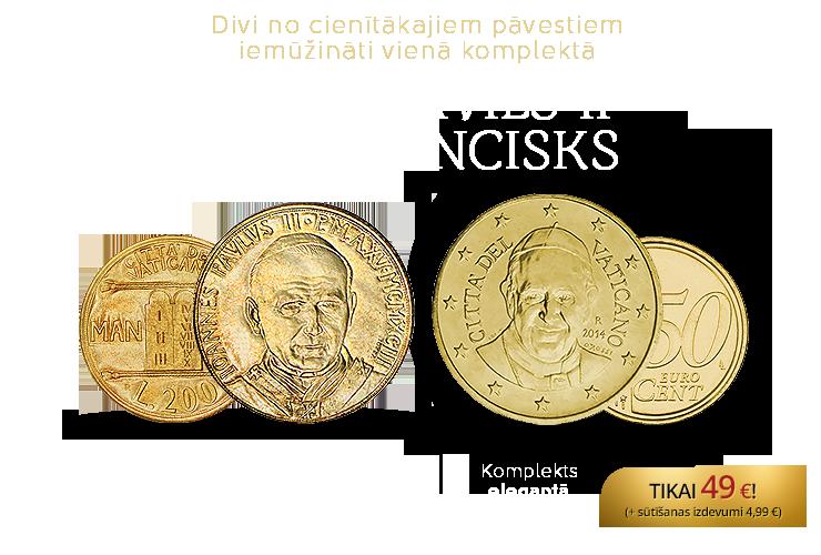"""Monētu komplekts """"Pāvesti Jānis Pāvils II un Francisks"""""""