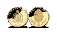 Juveliera Pētera Faberžē 175. dzimšanas dienas atcerei veltītā zelta monēta 0,5g