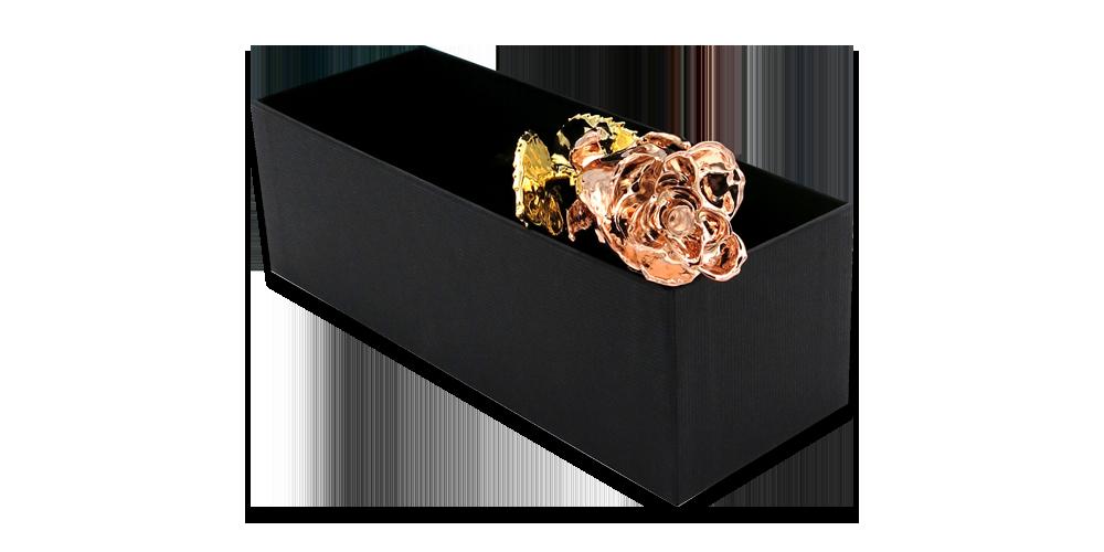Īsta roze ar tīra dzeltenā un rozā zelta pārklājumu