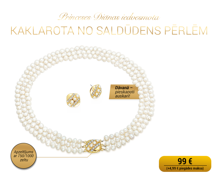 Princeses Diānas iedvesmota pērļu kaklarota