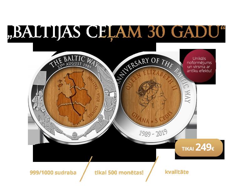 """Tīra sudraba monēta """"Baltijas ceļam 30 gadi"""""""