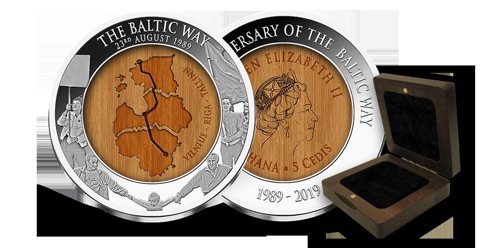 """Tīra sudraba monēta """"Baltijas ceļam – 30 gadi"""""""