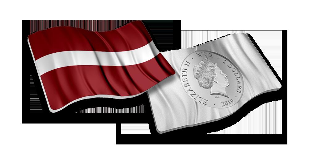 """Sudraba monēta """"Latvijas karogs"""""""